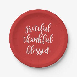 GRATEFUL THANKFUL BLESSED PAPER PLATE