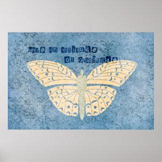 Gratitude Attitude Butterfly Poster