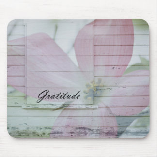 Gratitude Dogwood Inspired Pink Floral Mouse Pad
