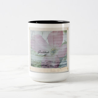 Gratitude Dogwood Inspired Pink Floral Two-Tone Coffee Mug