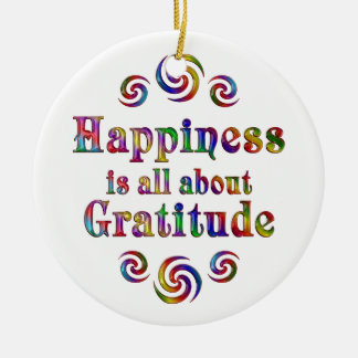 GRATITUDE HAPPINESS CERAMIC ORNAMENT