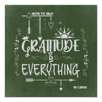 Gratitude is Everything Note to Self Chalkboard Poster