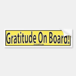 GRATITUDE ON BOARD SIGN BUMPER STICKER