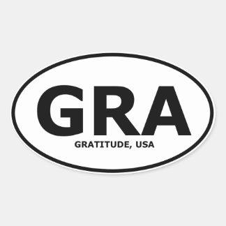 Gratitude Oval Vehicle Sticker