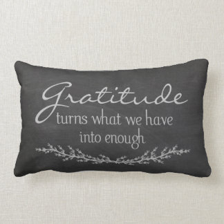 Gratitude quote on black chalkboard lumbar pillow