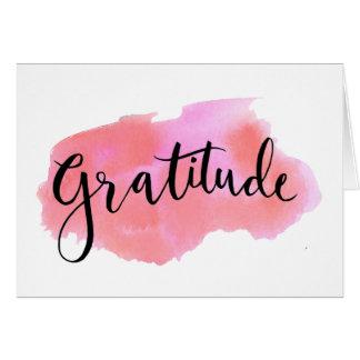 Gratitude watercolor calligraphy greeting card