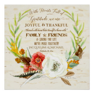 Gratitude Wedding Boho Bohemian Wreath Floral Fall Poster