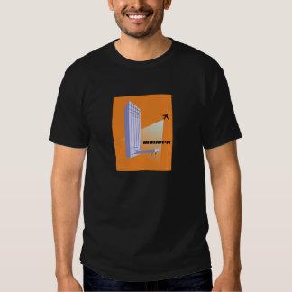 Gratte-ciel et avion modernes de la moitié du t shirts