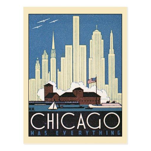 Gratte-ciel vintage d horizon de Chicago l Illinoi Carte Postale