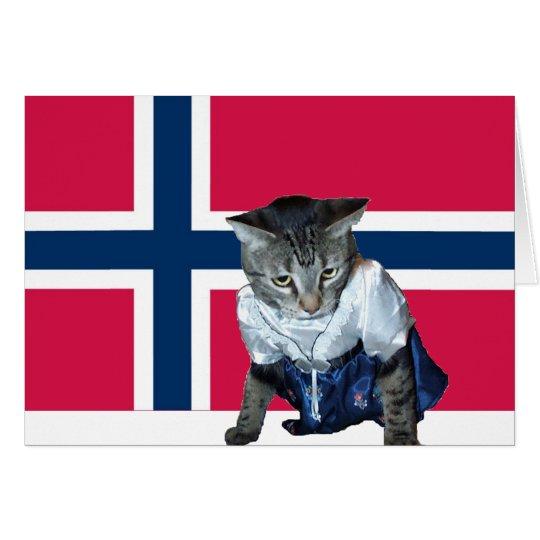"""""""Gratulerer med dagen"""" Norwegian cat card"""