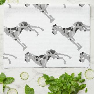 Grautiger Doggensilhouette Kitchen Towel