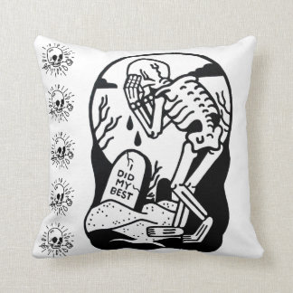 Grave Skulls and Anatomical Hearts REVERSIBLE Throw Pillow