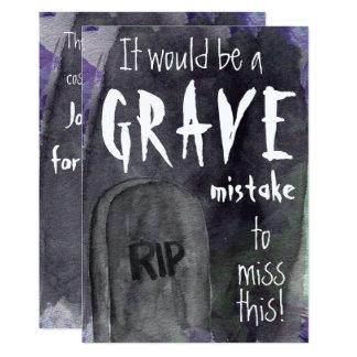 Grave Watercolor Halloween Invitation