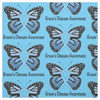 Graves Disease with Butterfly Awareness Ribbon Fabric
