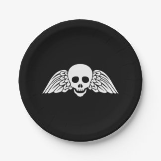 "Gravestone Winged Skull Halloween Paper Plates 7"" 7 Inch Paper Plate"