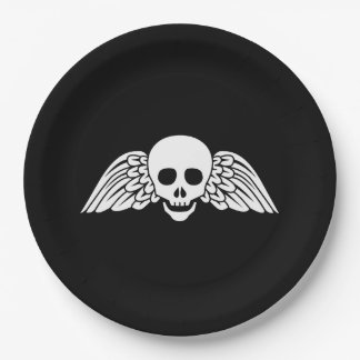 "Gravestone Winged Skull Halloween Paper Plates 9"" 9 Inch Paper Plate"