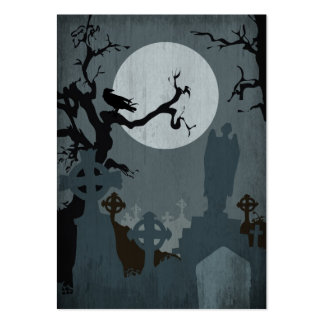 Graveyard and Full Moon for Halloween Large Business Card
