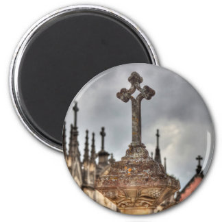Graveyard cross close-up, Portugal 2 Inch Round Magnet