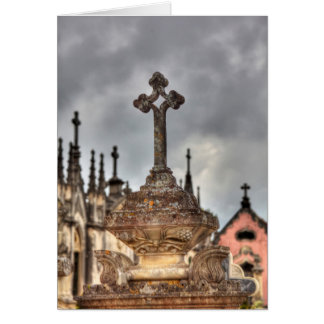 Graveyard cross close-up, Portugal Card