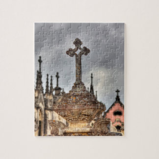 Graveyard cross close-up, Portugal Jigsaw Puzzle