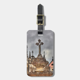 Graveyard cross close-up, Portugal Luggage Tag