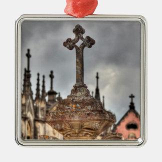 Graveyard cross close-up, Portugal Silver-Colored Square Ornament