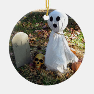 Graveyard, Ghost & Pumpkin Ceramic Ornament