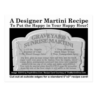 Graveyard Halloween Martini Recipe Postcard