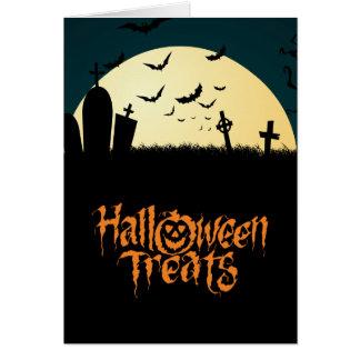 Graveyard scary Halloween treats Card