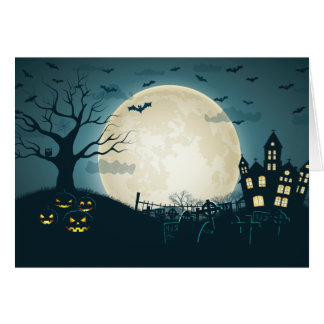 Graveyard with pumpkins, bats, dead tree, moon card