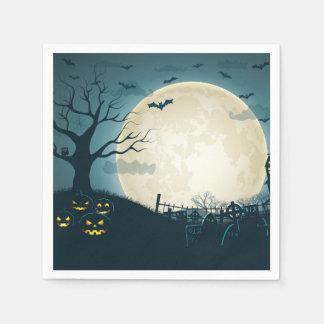 Graveyard with pumpkins, bats, dead tree, moon paper napkins