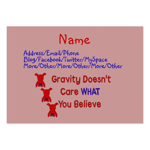 Gravity Doesn't Care Business Card Templates