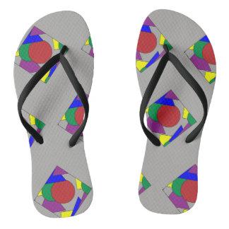 Gray Abstract Print Flip Flops