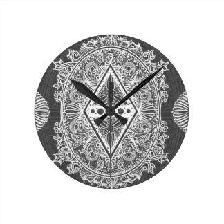 Gray, Age of awakening, bohemian, newage Round Clock