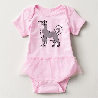 Gray Alaskan Malamute Baby Bodysuit