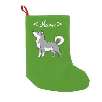 Gray Alaskan Malamute Small Christmas Stocking