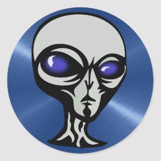 Gray Alien Stickers with Blue Background