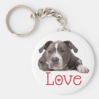Gray American Staffordshire Terrier  Puppy Dog Basic Round Button Keychain