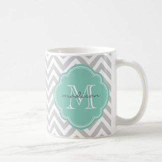 Gray and Aqua Chevron Custom Monogram Coffee Mug