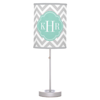 Gray and Aqua Chevron Custom Monogram Table Lamp