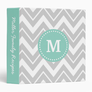 Gray and Aqua Chevron Custom Monogram Vinyl Binder