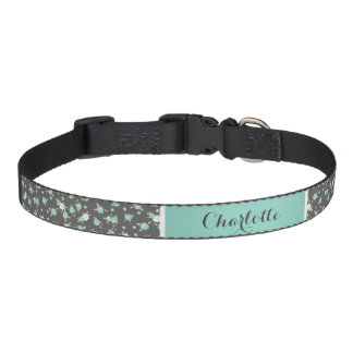 Gray and Aqua Chic Vintage Floral Print Monogram Pet Collar