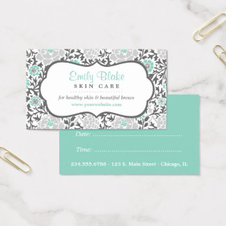 Gray and Aqua Floral Damask Appointment Business Card