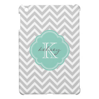 Gray and Aqua Modern Chevron Custom Monogram iPad Mini Case