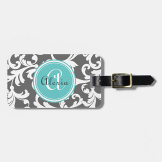 Gray and Aqua Monogrammed Damask Print Luggage Tag