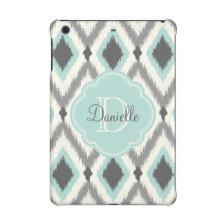 Gray and Aqua Tribal Ikat Chevron Monogram iPad Mini Case