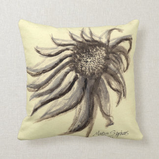 Gray and Beige Painted Flowers, Purple Coneflower Throw Pillow