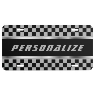 Gray and Black Checkered Pattern | Personalize License Plate