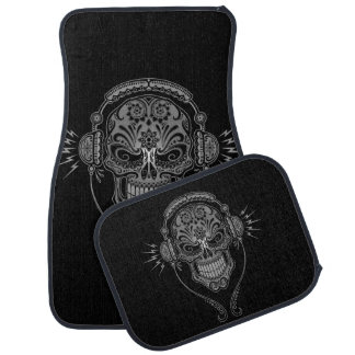 Gray and Black DJ Sugar Skull Car Mat
