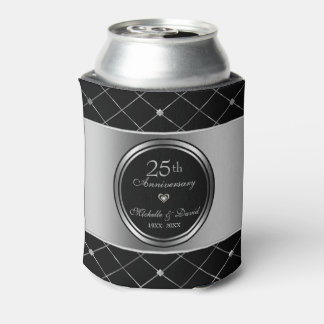 Gray And Black Geometric Shapes- 25th Anniversary Can Cooler